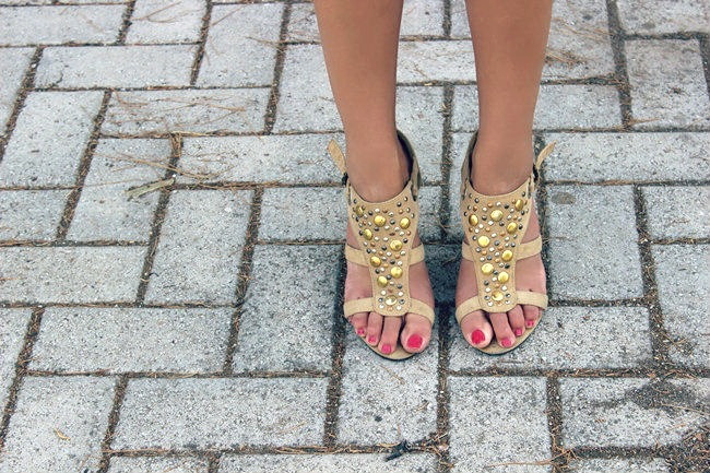 beige suede sandals with gold and silver circle studs
