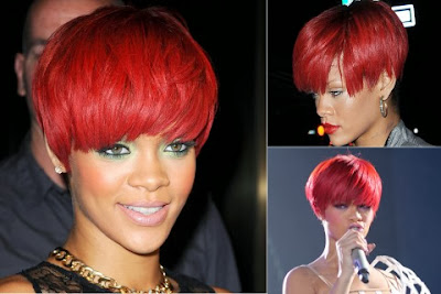 Rihanna short haircut with bangs