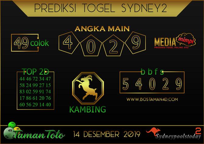 Prediksi Togel SYDNEY 2 TAMAN TOTO 14 DESEMBER 2019
