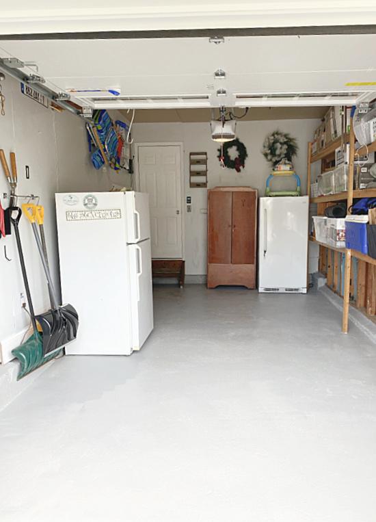 painted garage floor drying