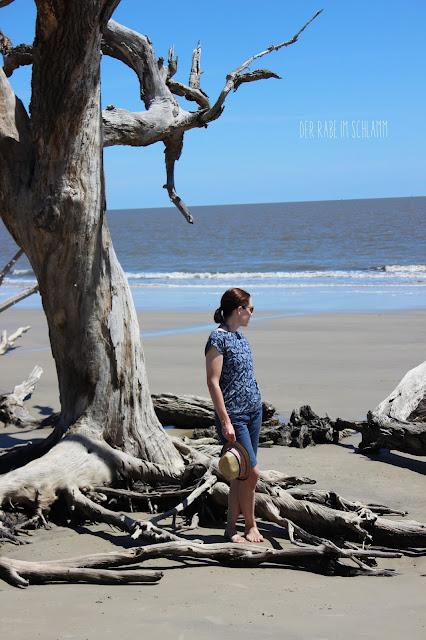 Der Rabe im Schlamm, Kimono Tee, Nähen, Art Gallery Fabrics, Petal and Plume, Driftwood Beach