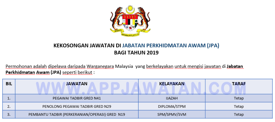 Permohonan Jawatan Pegawai Tadbir N41 Penolong Pegawai Tadbir N29 Dan Pembantu Tadbir Perkeranian Operasi N19 Di Jabatan Perkhidmatan Awam Jpa Terbuka 2019 Appjawatan Malaysia