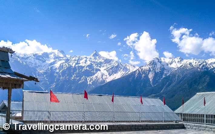 While we are talking about Kalpa & it's beautiful temple, we should also share about other things to do around this place. So let's also talk a little about main things to visit or do around Kalpa town of Kinnaur, Himachal Pradesh -    1. Try Momos in this little market and you would certainly enjoy the Kinnauri flavour in pleasant weather.  2. There are some very interesting treks around Kalpa, including some long & difficult treks. E.g. - Kinner Kailash Trek, Chakka trek,   3. Suicide Point and the Roghi village  4. Narayan-Nagini Temple  5. Hu-Bu-Lan-Kar Monastery  6. Sapni Fort & Kothi  7. Kamru Fort  8. Basteri etc