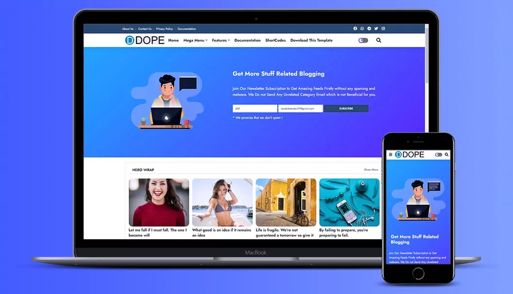 Dope - Creative & Responsive Blogger Templates Free Download 2021