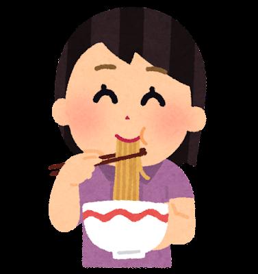 ラーメンを食べる女の子のイラスト