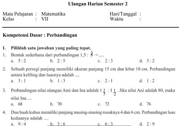 Download Contoh Soal Soal Ulangan Harian Matematika Kelas 7 Smp Mts Semester 2 Library Pendidikan