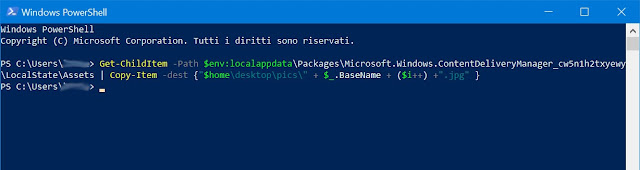 il comando eseguito all'interno di Windows PowerShell