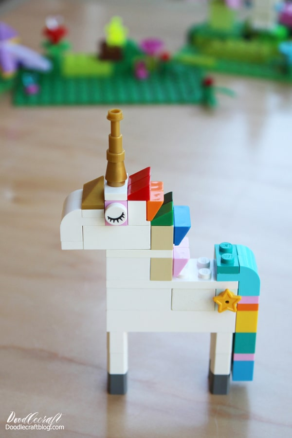 Lego pieces needed to build the most epic Lego Unicorn with a rainbow colored mane, gold tiara and horn, rainbow colored waterfall tail and star cutie mark on the flank!