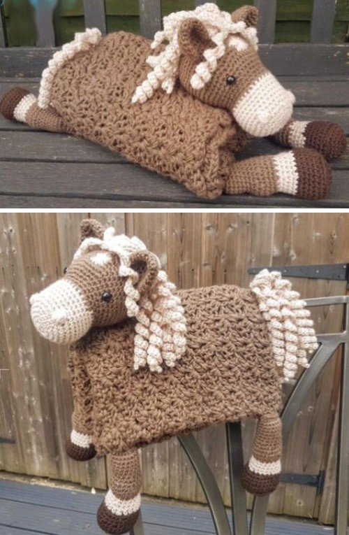 3in1 Farm Horse Folding Baby Blanket Toy Lovey - Free Crochet Pattern