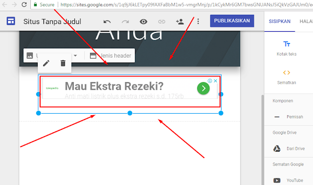 Iklan adsense hosted muncul di google sites