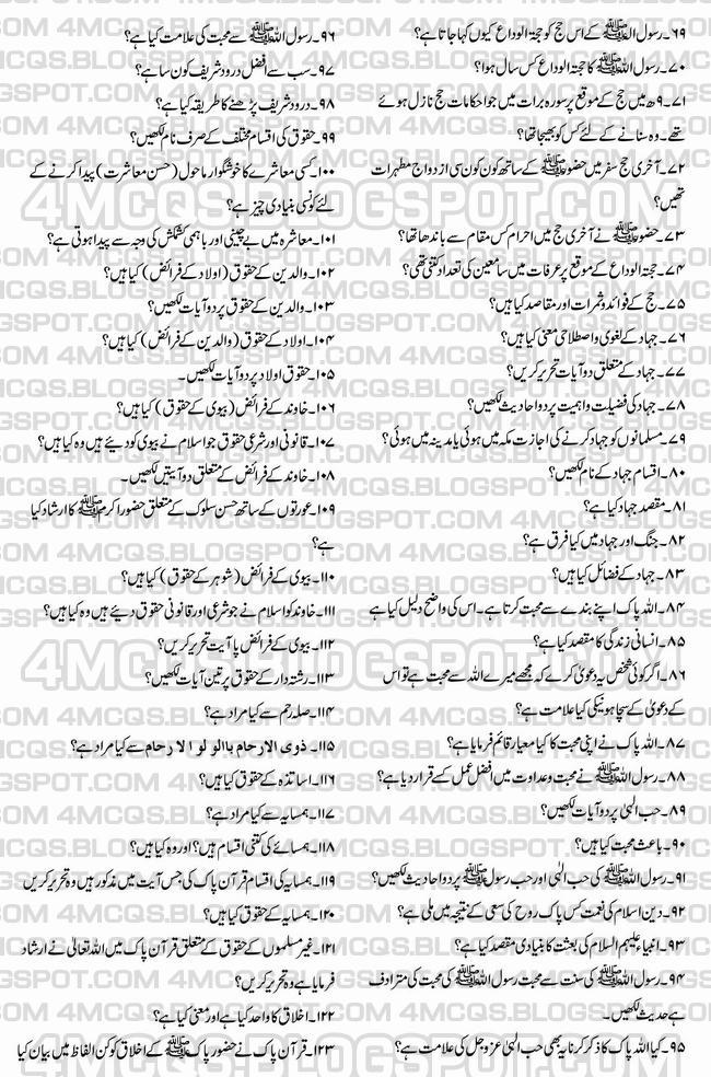 Sarmaya Urdu 2nd Year Book Notes