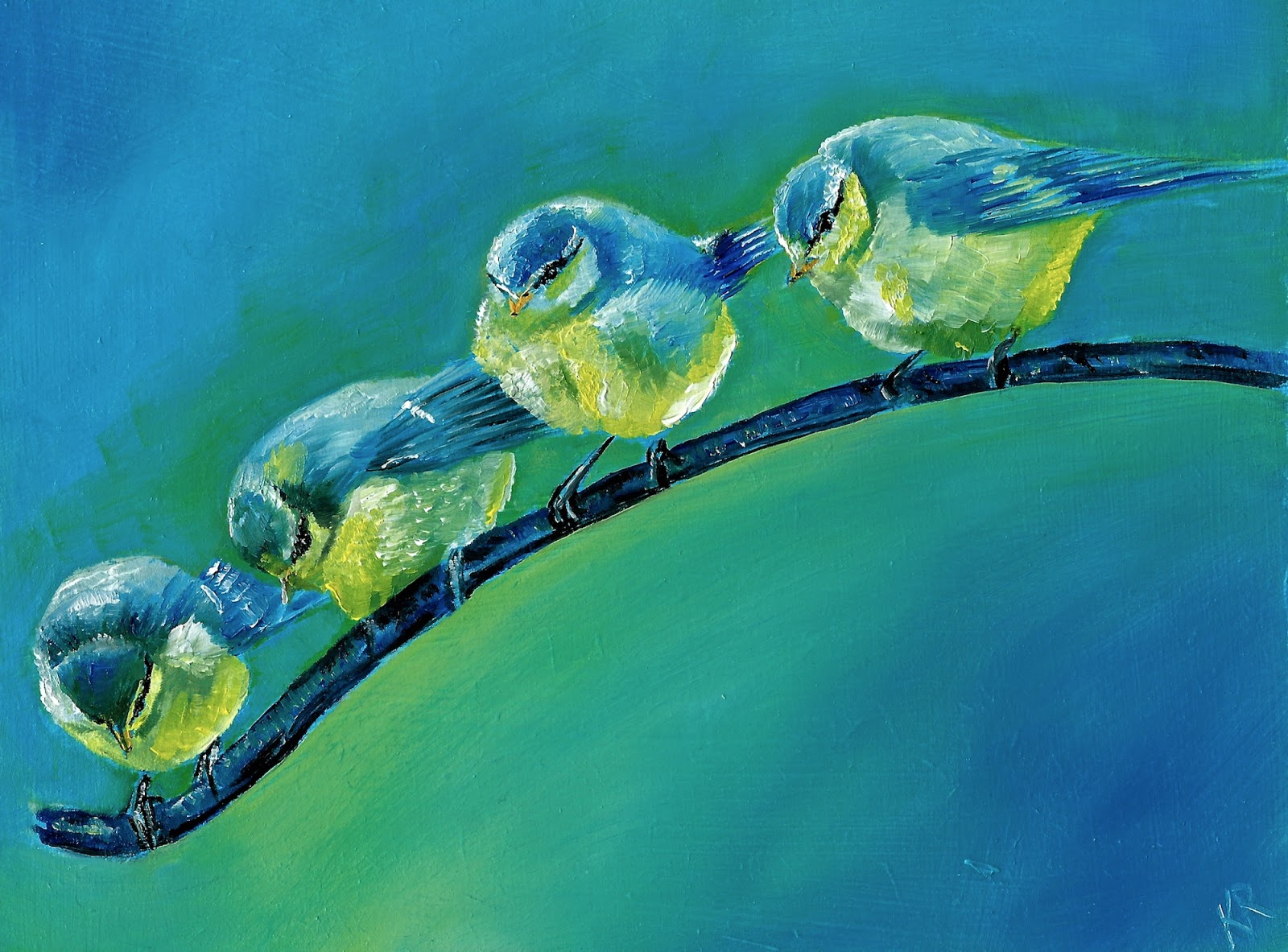 oil painting of blue tits, bird painting, pet portrait by karen
