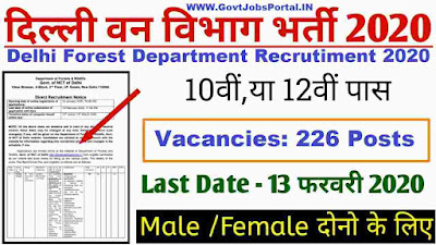 Delhi Forest Department Forest Guard Vacancy 2020