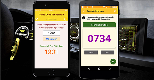 Radio Code For Renault   OBDHighTech - Automotive Apps
