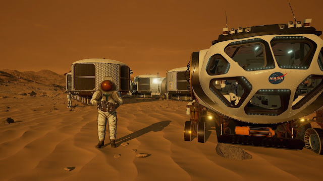 Mars 2030 VR image - base and rover