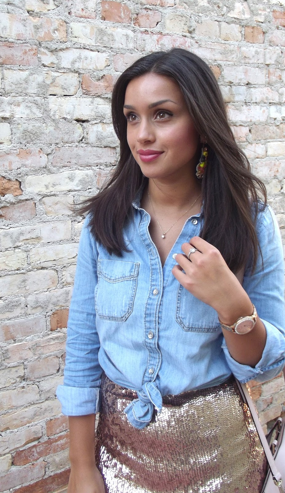 Buy Sequin gold skirt with denim shirt picture trends