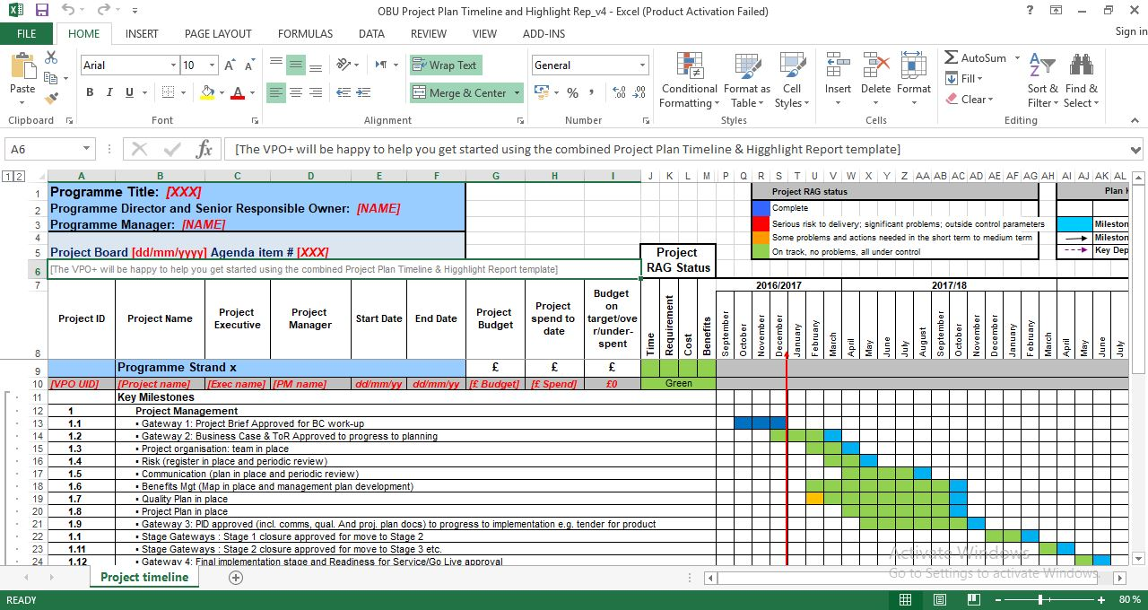 Project Plan Timeline and Highlight Template Excel