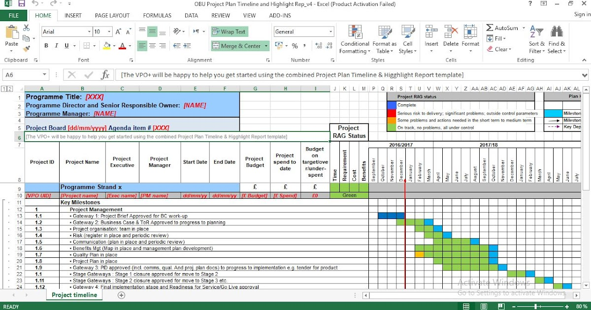 Project Plan Timeline and Highlight Template Excel ...