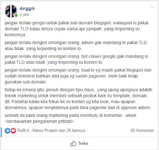 Screenshot postingan blogger Anggik di Facebook