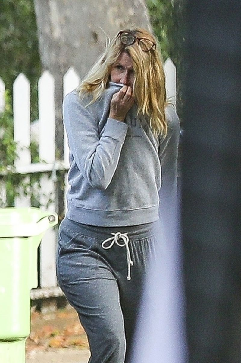 Laura Dern Outside with Her Dog in Pacific Palisades 18 May -2020