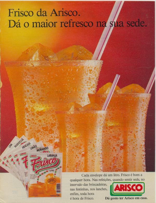 Propaganda antiga da Arisco promovendo o suco em pó Frisco em 1995