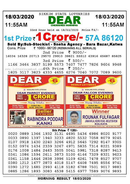 Sikkim State Lotteries 18-03-2020 Lottery Sambad Result 11:55 AM