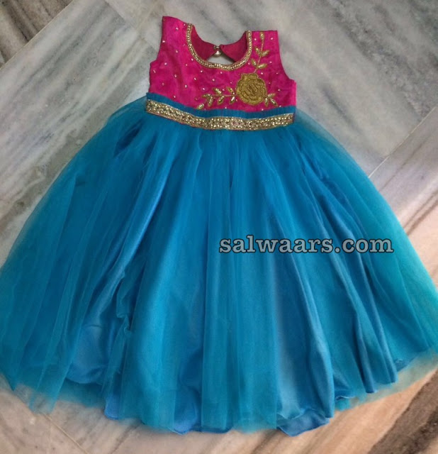 Simple Sky Blue Frock Rose Floral Design