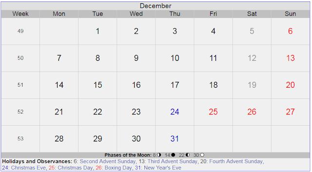 Calendar for December 2020 Sweden