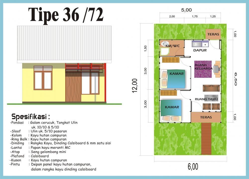 gambar denah rumah sederhana type 36 1