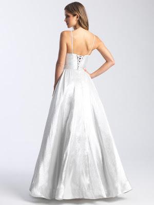 Scoop neckline Madison James prom dress Silver color Back side