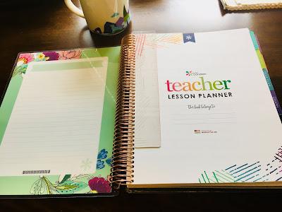 inside cover of homeschool lesson planner