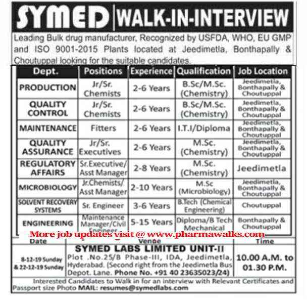 Symed Laboratories walk-in interview for multiple positions on 8th & 22nd Dec' 2019
