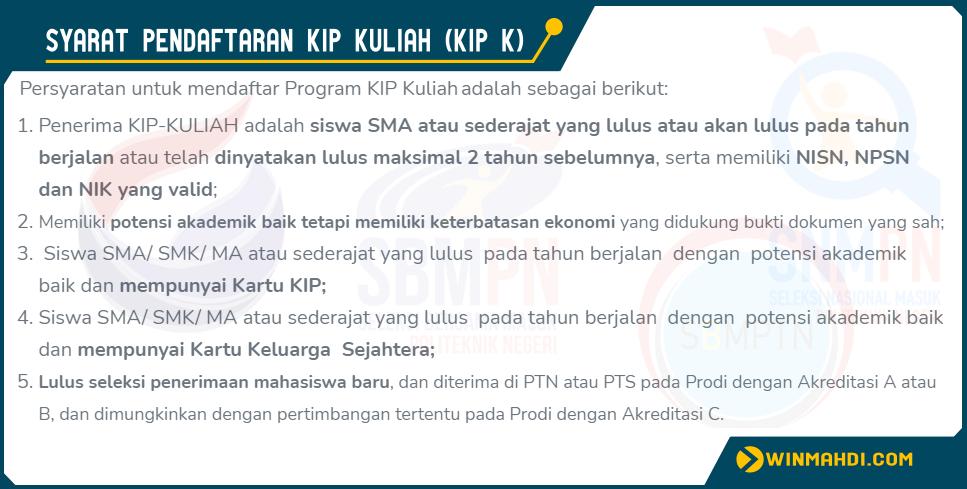 SYARAT PENDAFTARAN KIP KULIAH (KIP K) SNMPTN, SBMPTN ...