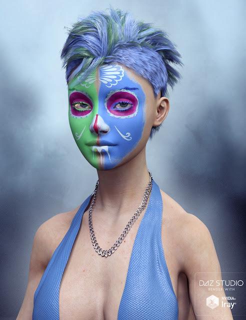 Sugar Skull Make-up for Genesis 3 Female