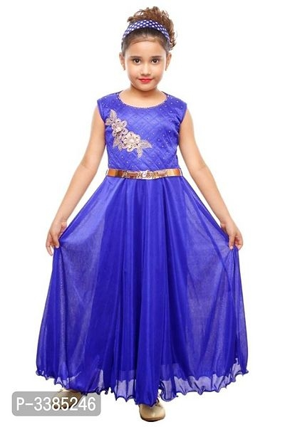 Cocktail Party Look ! 1 to 9 Years Old Girls Embroidered Sleeveless Gowns Online Shopping | Embroidered Gown For Girls Online Shopping | Kids Clothing Online |