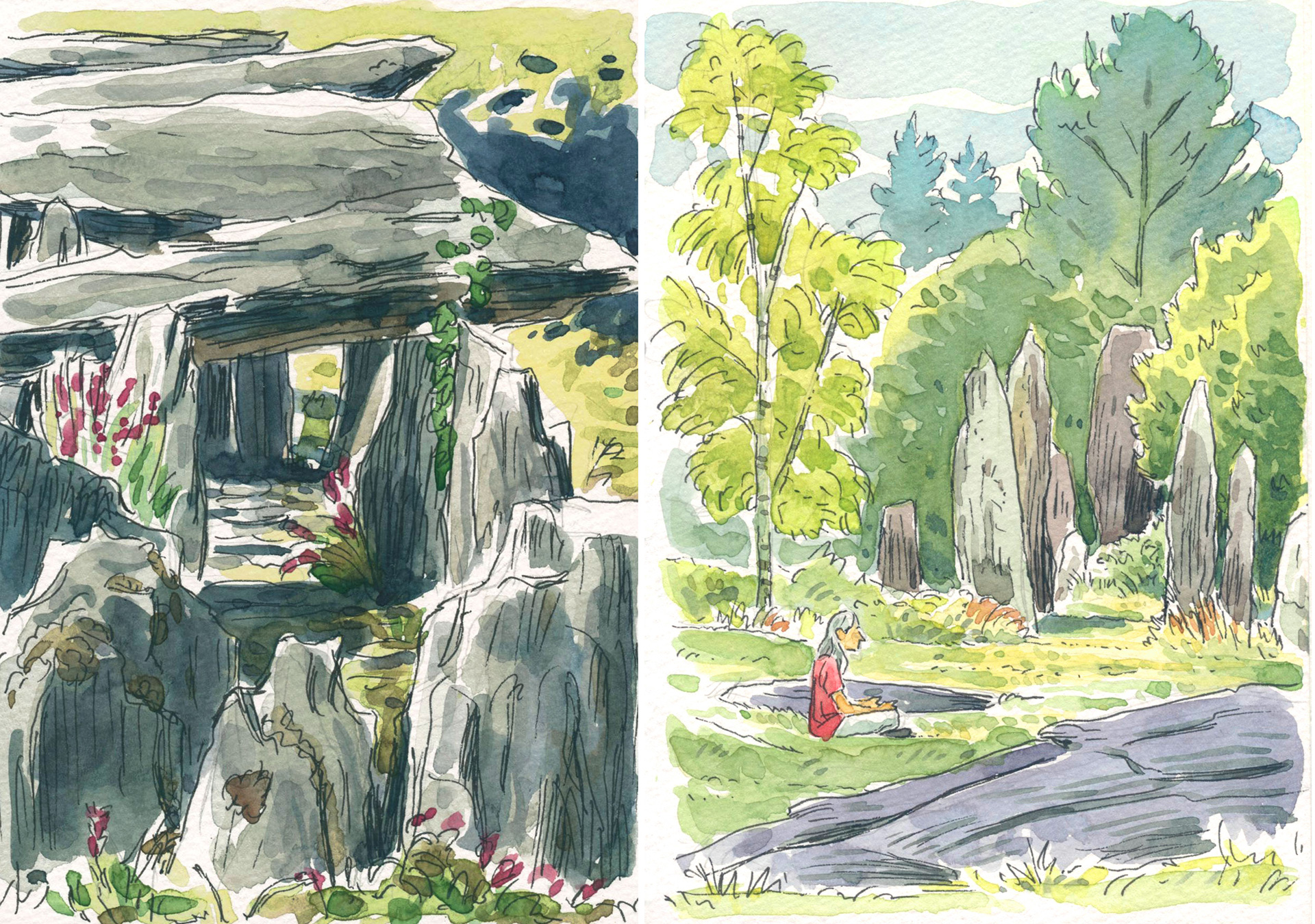 megaliths watercolor sketches