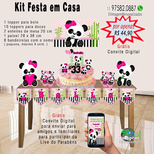Urso Panda Rosa dicas e ideias para decoração de festa personalizados