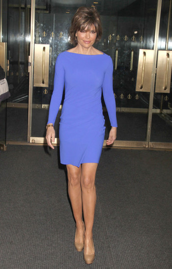 cobalt blue dress and brown shoes