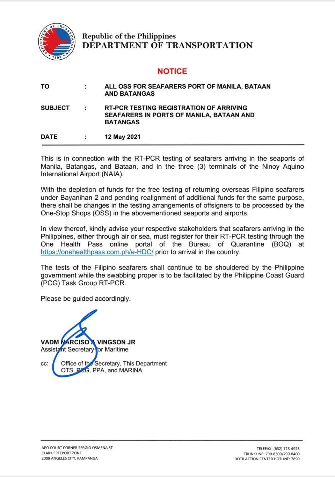 Department of Transportation Notice re RT-PCR Registration of Arriving Seafarers in Ports of Manila, Bataan and Batangas dated 12 May 2021