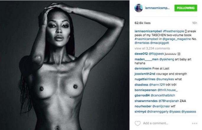 Una fotografía de la modelo Naomi Campbell que también fue censurada. FOTO: Instaram
