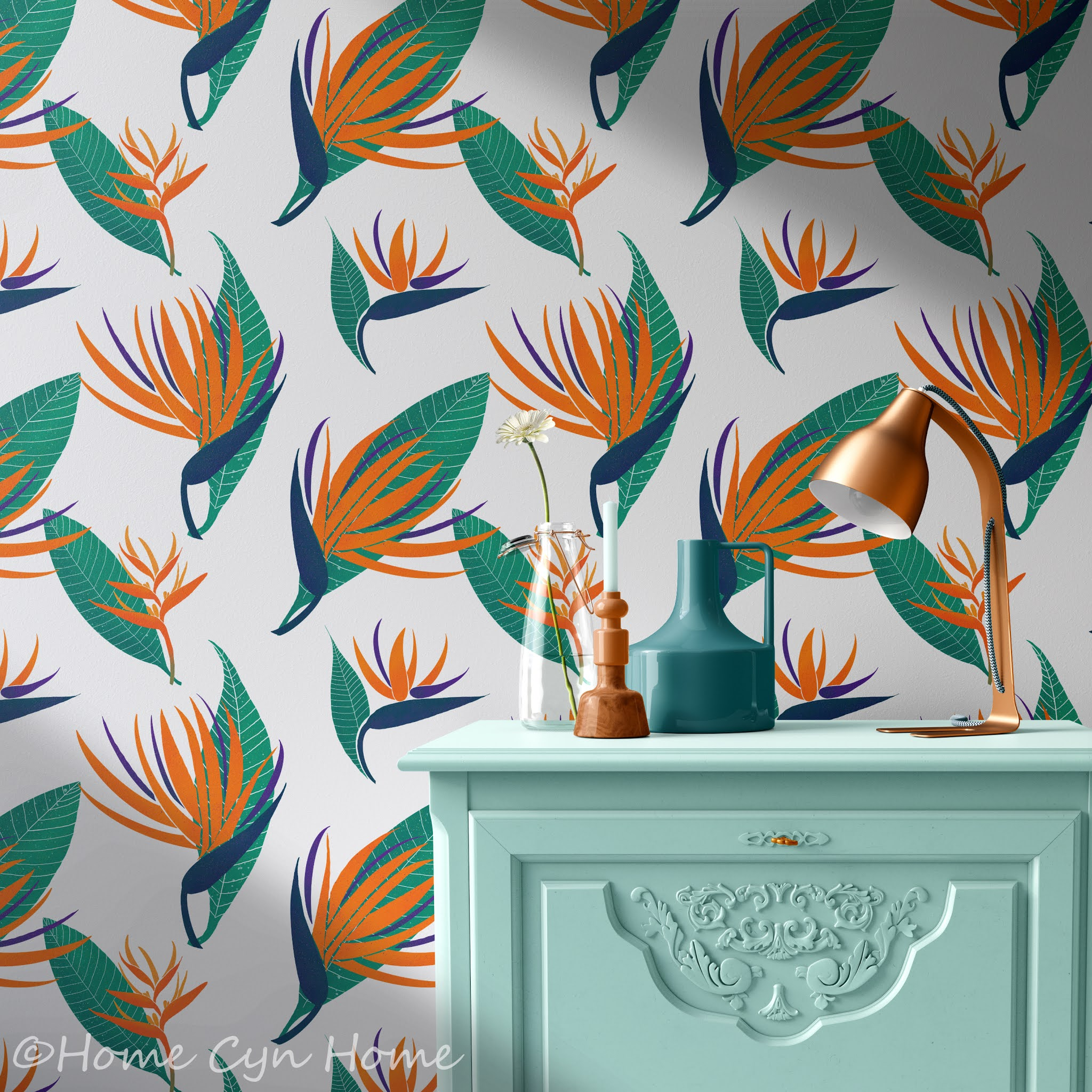 bird of paradise and tropical leaves on a wallpaper pattern
