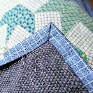 hand sewn mitred corner