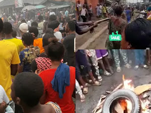 Angry mob caught a female child trafficker in Lagos State and burn her to ashes