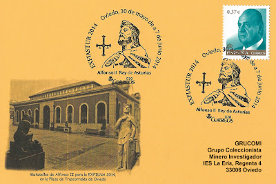 Tarjeta del Grucomi con matasellos dedicado a Alfonso II