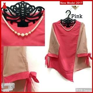 RYB126B Ribbon Sleeve Cantik Neckline Murah Blouse BMG Online Shop