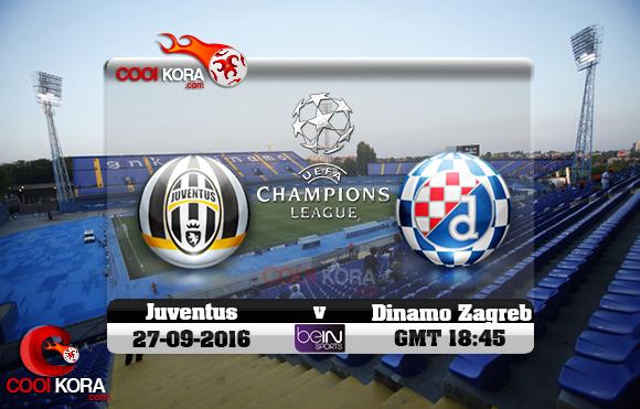 مشاهدة مباراة دينامو زغرب ويوفنتوس اليوم 27-9-2016 في دوري أبطال أوروبا