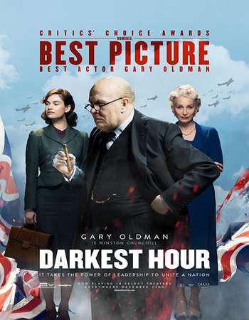 Poster Of Free Download Darkest Hour 2017 300MB Full Movie Hindi Dubbed 720P Bluray HD HEVC Small Size Pc Movie Only At worldfree4u.com
