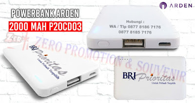 Power Bank Arden Slim Card 2000 mAh P20CD03, Powerbank Card Plastik 2.000mAH, powerbank printing tertipis dengan harga termurah
