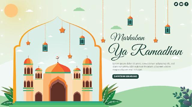 Free Ramadhan PPT : Desain Flat Tema Ramadhan PowerPoint