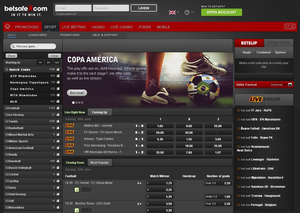 Betsafe Sportsbook Screenshot